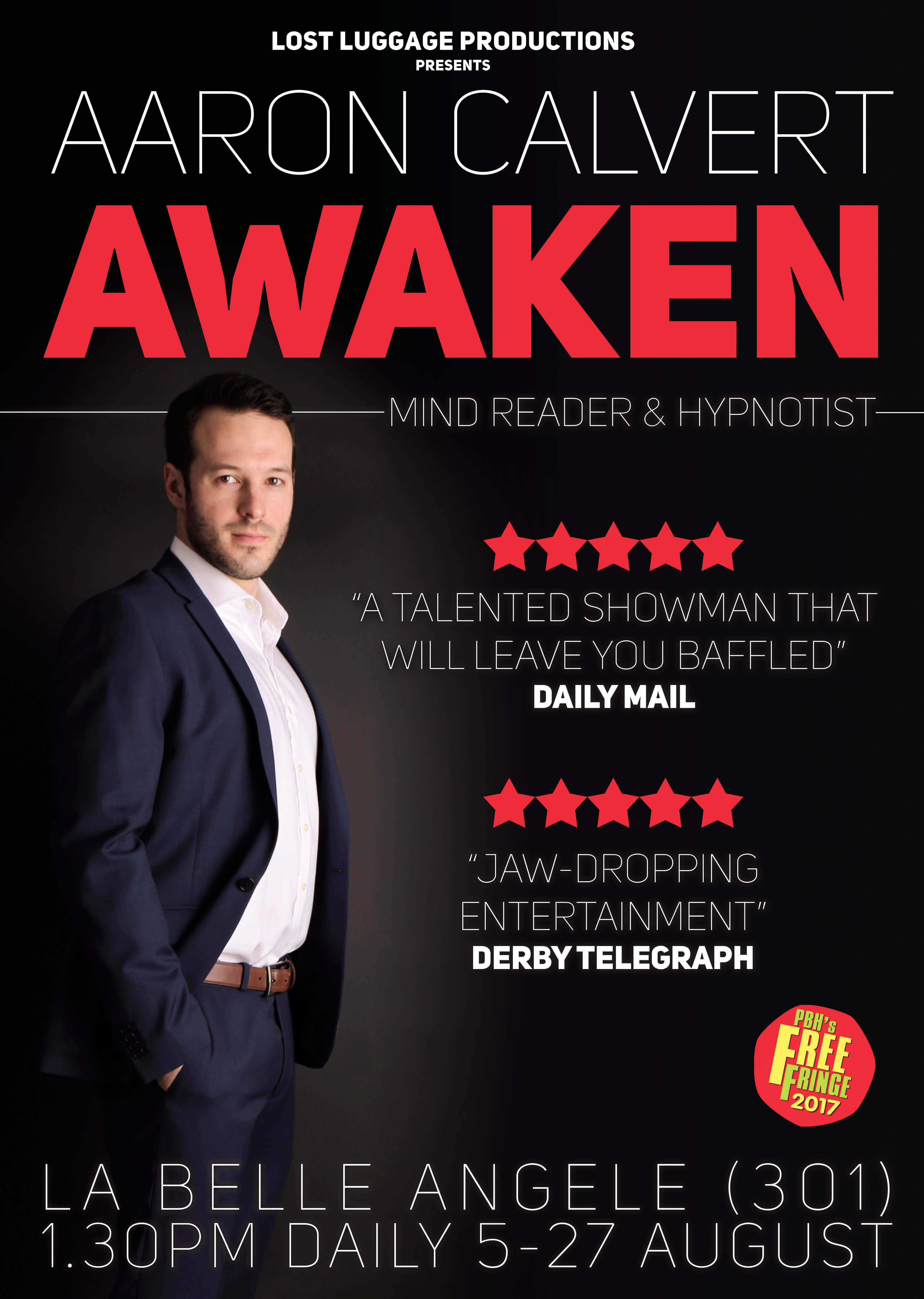 Aaron Calvert Awaken edinburgh fringe magic show poster