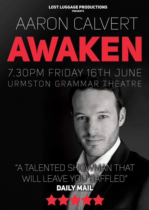 Poster for Aaron Calvert Awaken show in Manchester in June 2017
