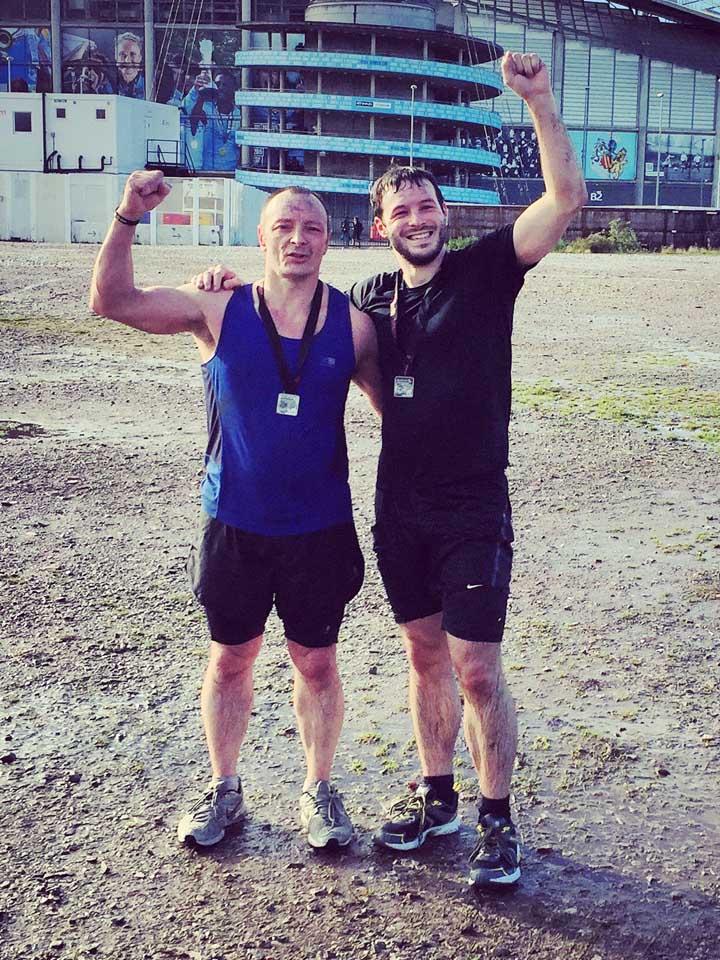 Aaron Calvert and Dad running