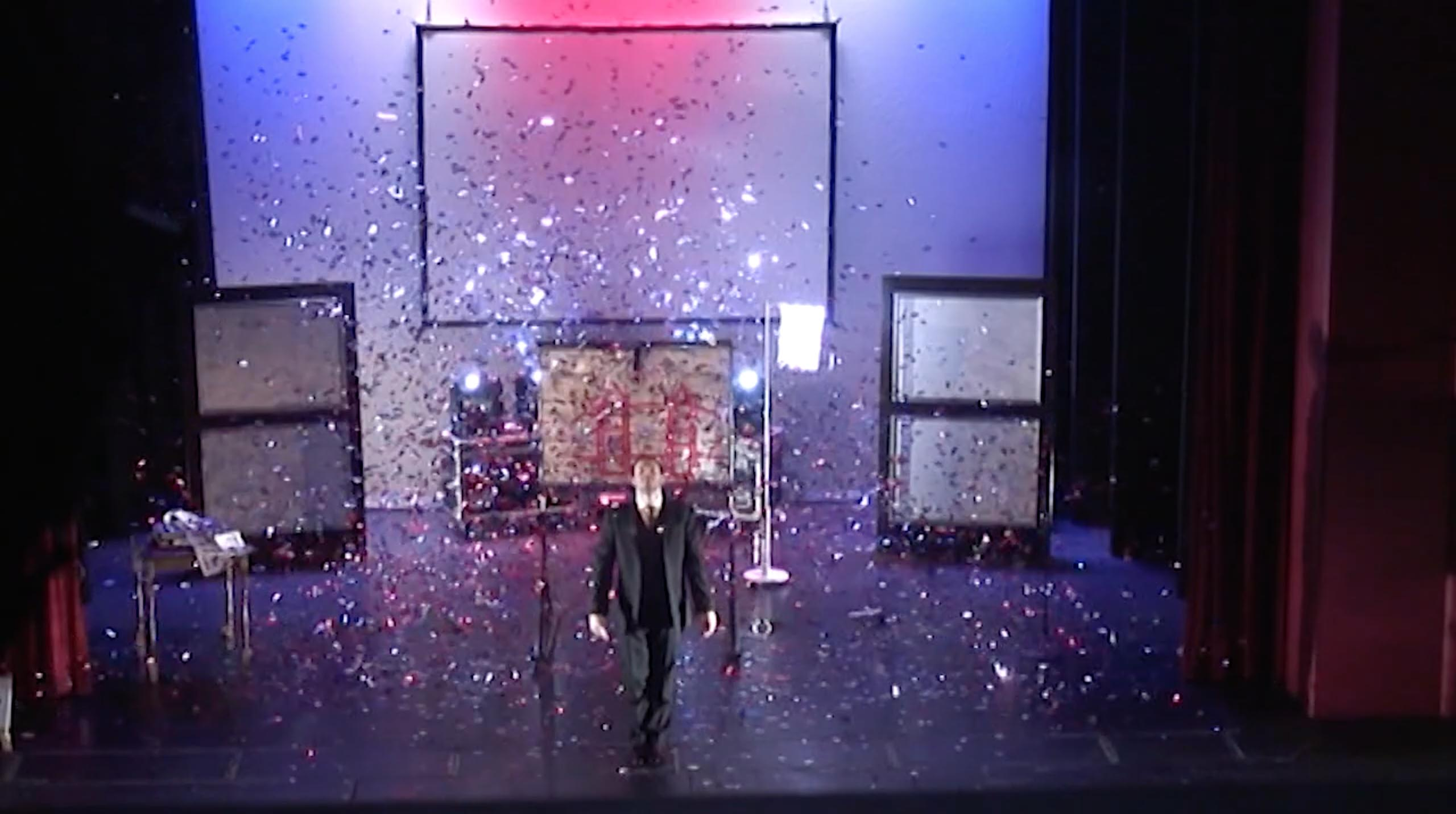 Confetti falls in finale of theatre show mind games