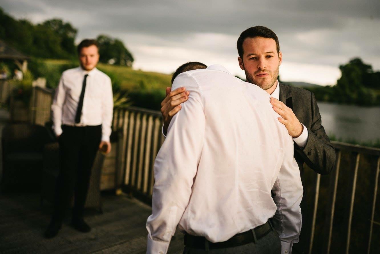 Manchester hypnotist aaron calvert hugging hypnotised James Mendeika