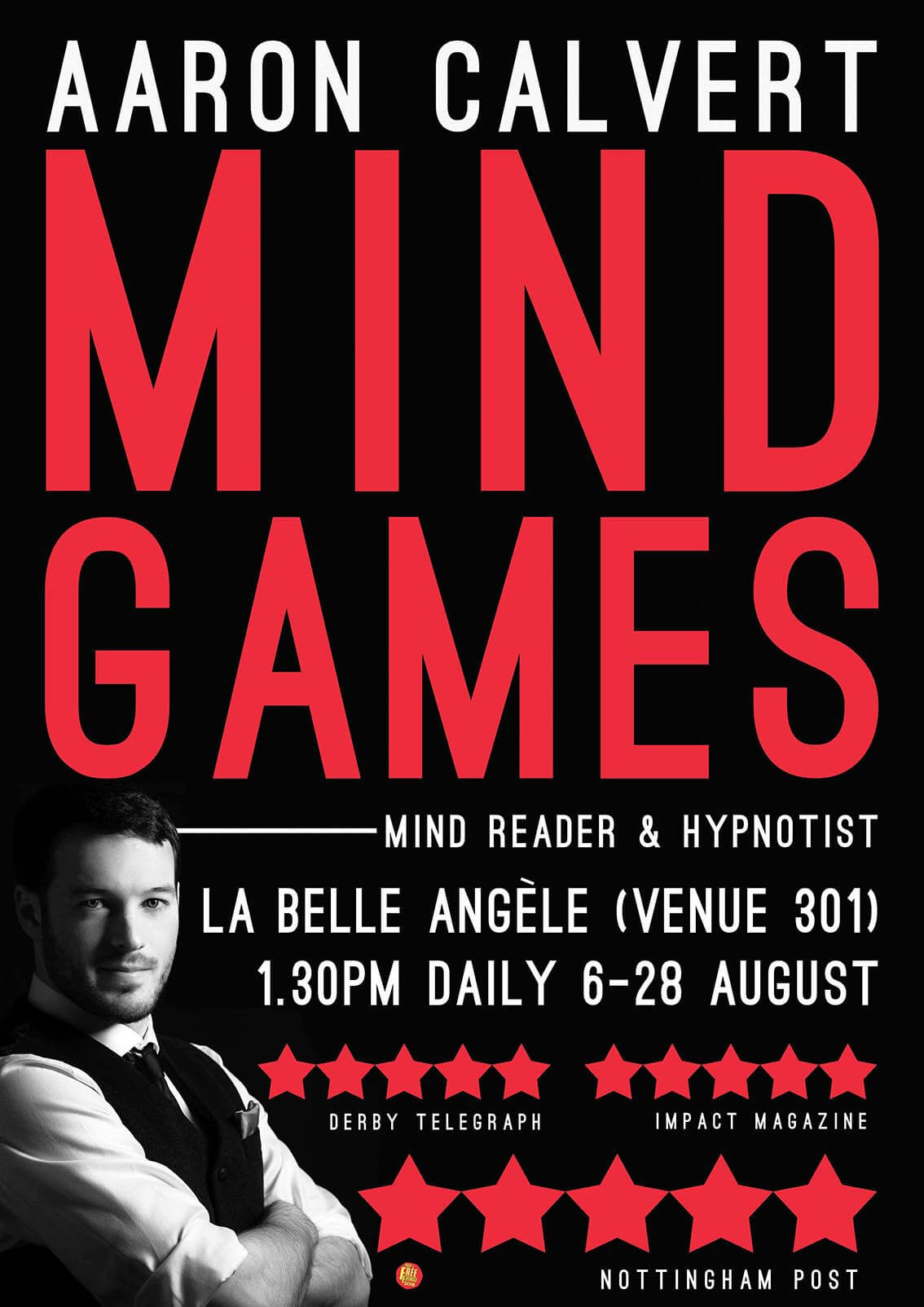 AARON CALVERT MIND GAMES EDFRINGE POSTER ON STAGE