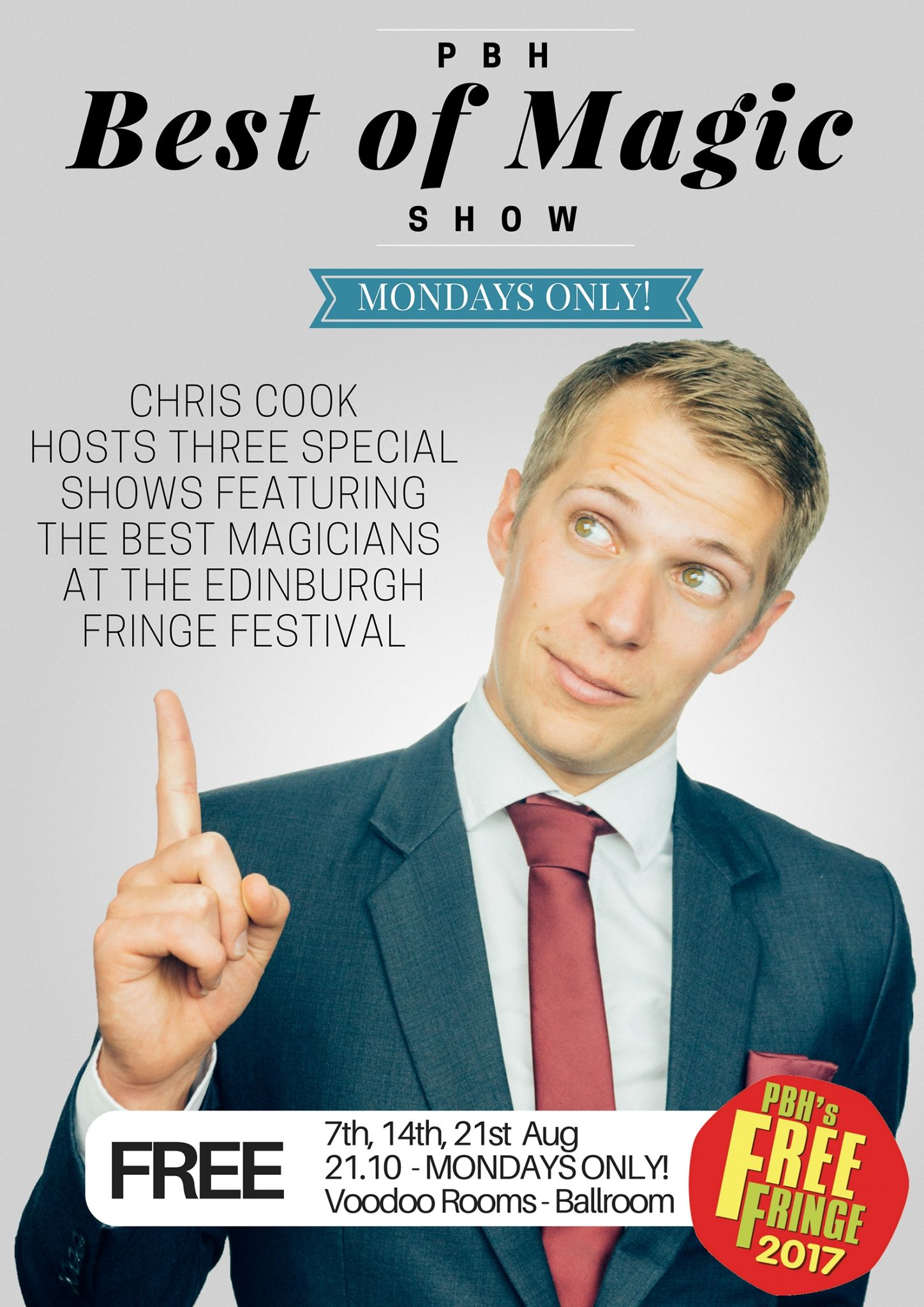 the best of edinburgh fringe magic poster with chris pointing up