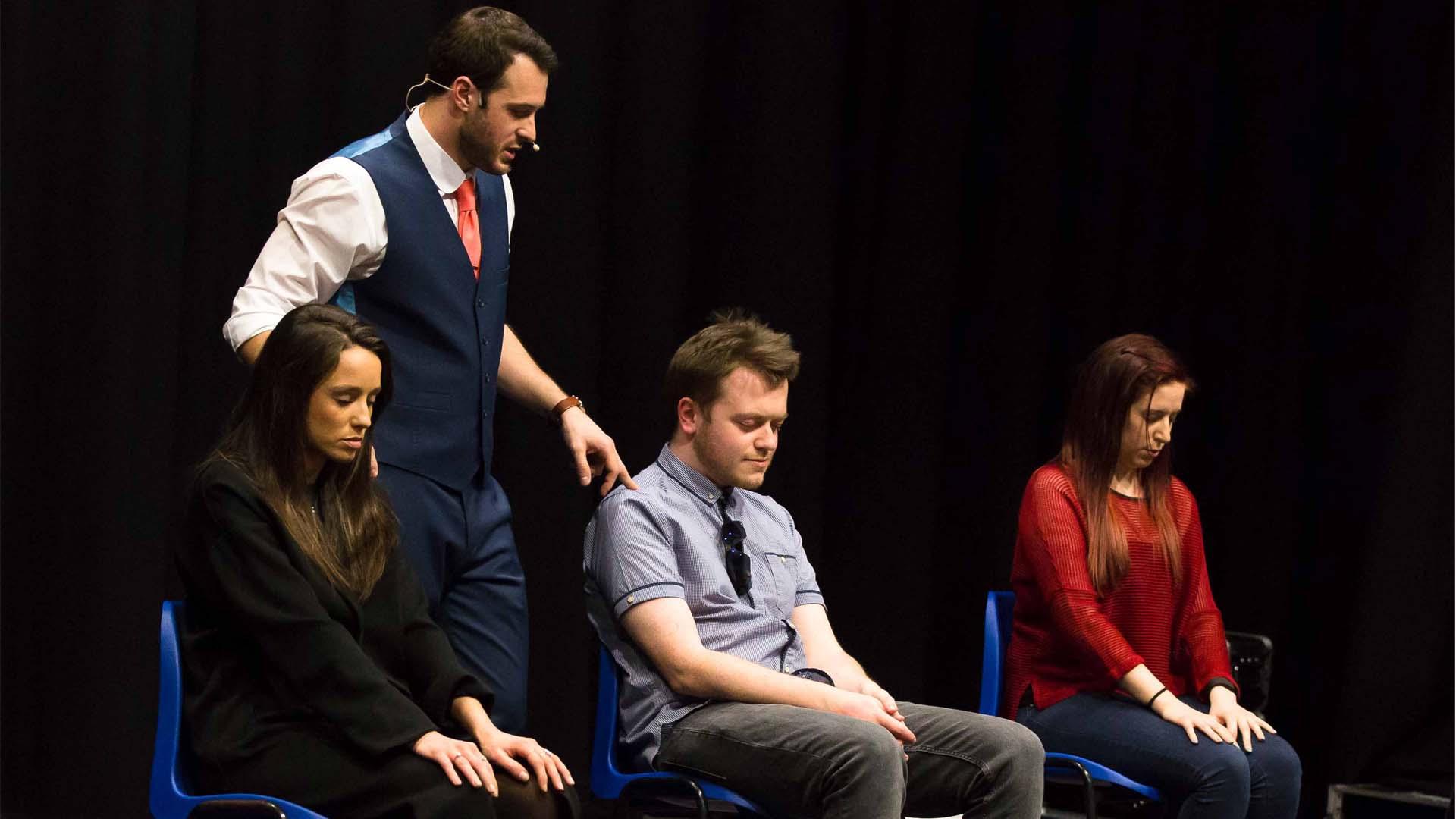 Edinburgh fringe particpants hypnotised on stage in mind games