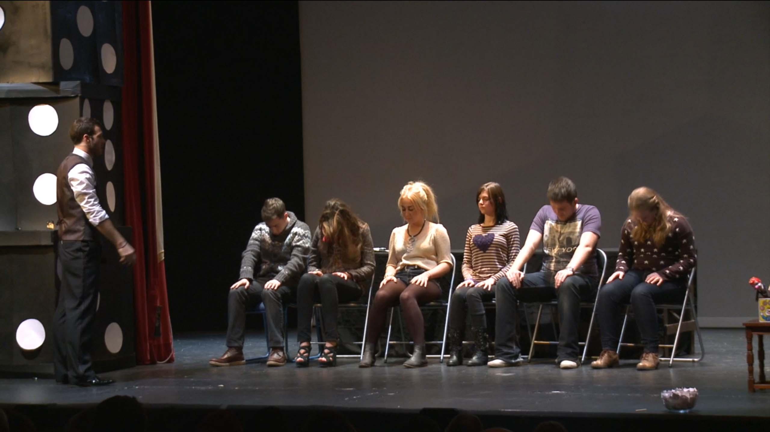 MIND GAMES theatre volunteers hypnotised on stage