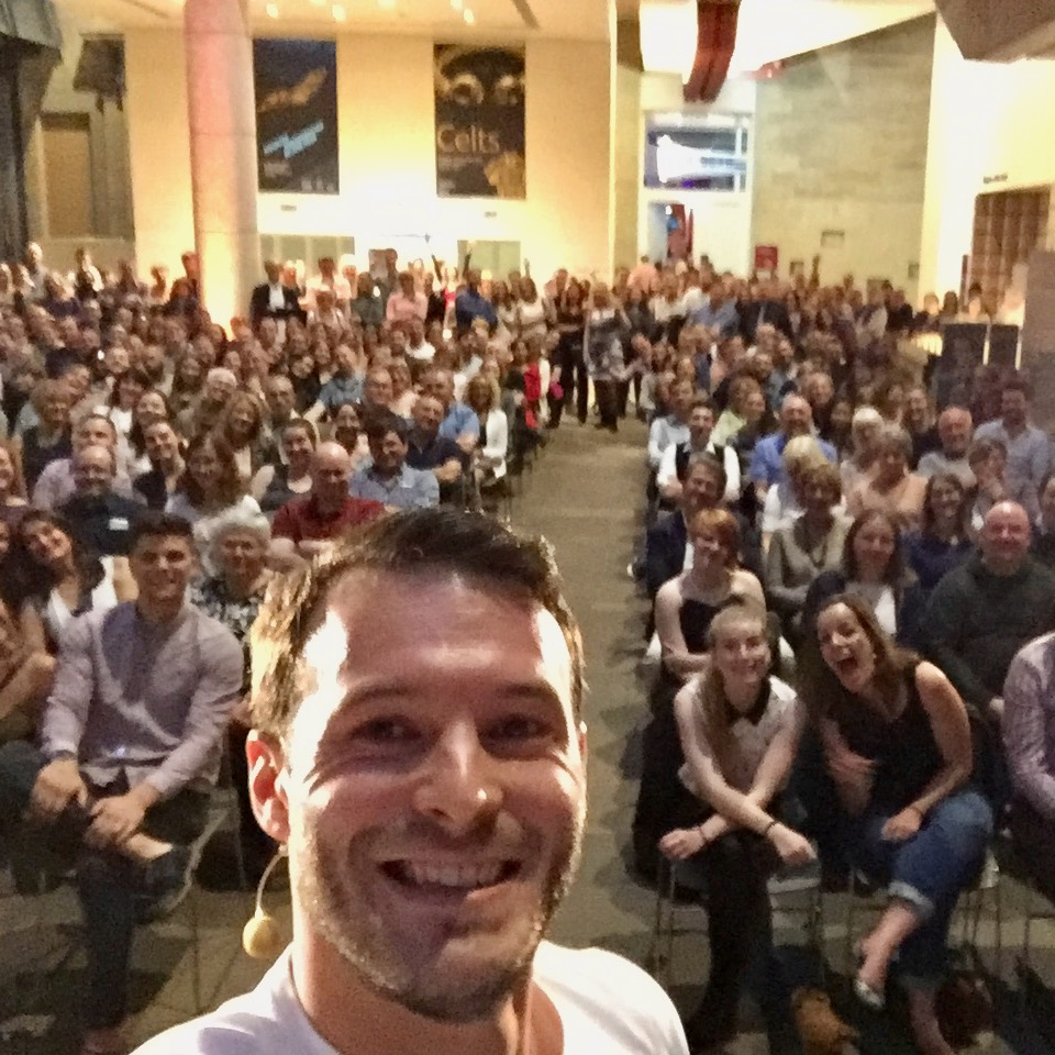 corporate entertainment selfie at edinburgh museum after hours