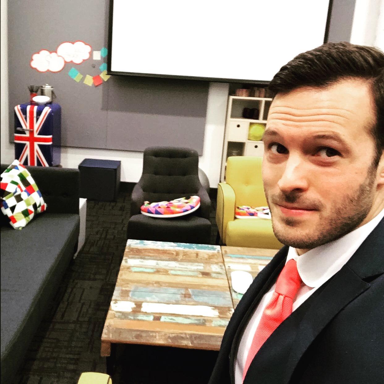 corporate entertainment selfie green room