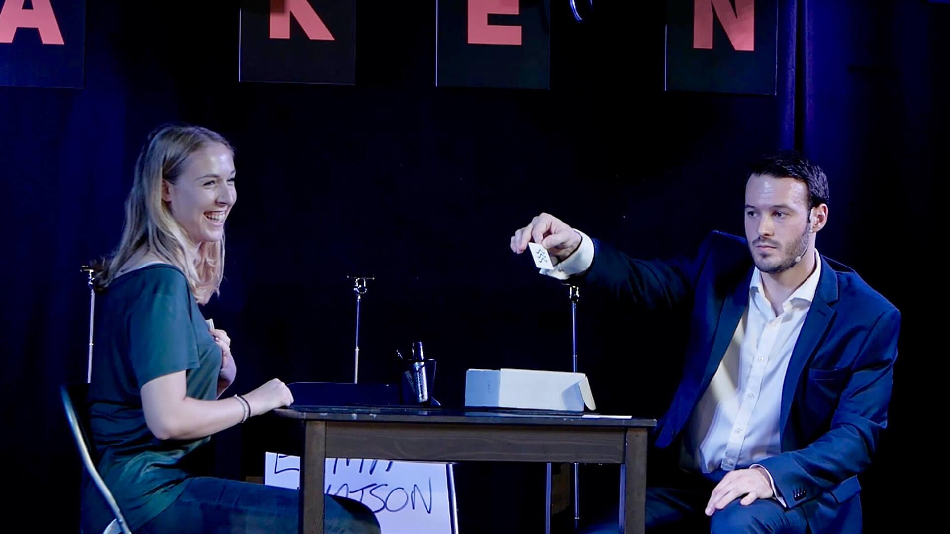 Aaron Calvert on stage at the Edinburgh Fringe Festival