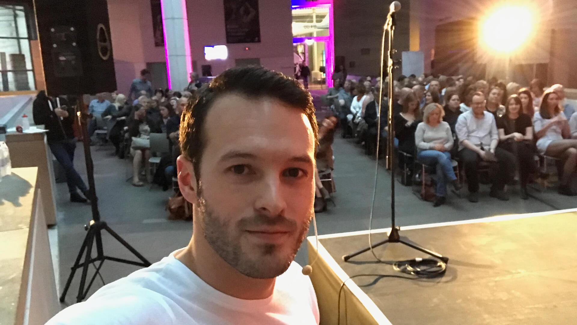 Guest stage entertainment selfie