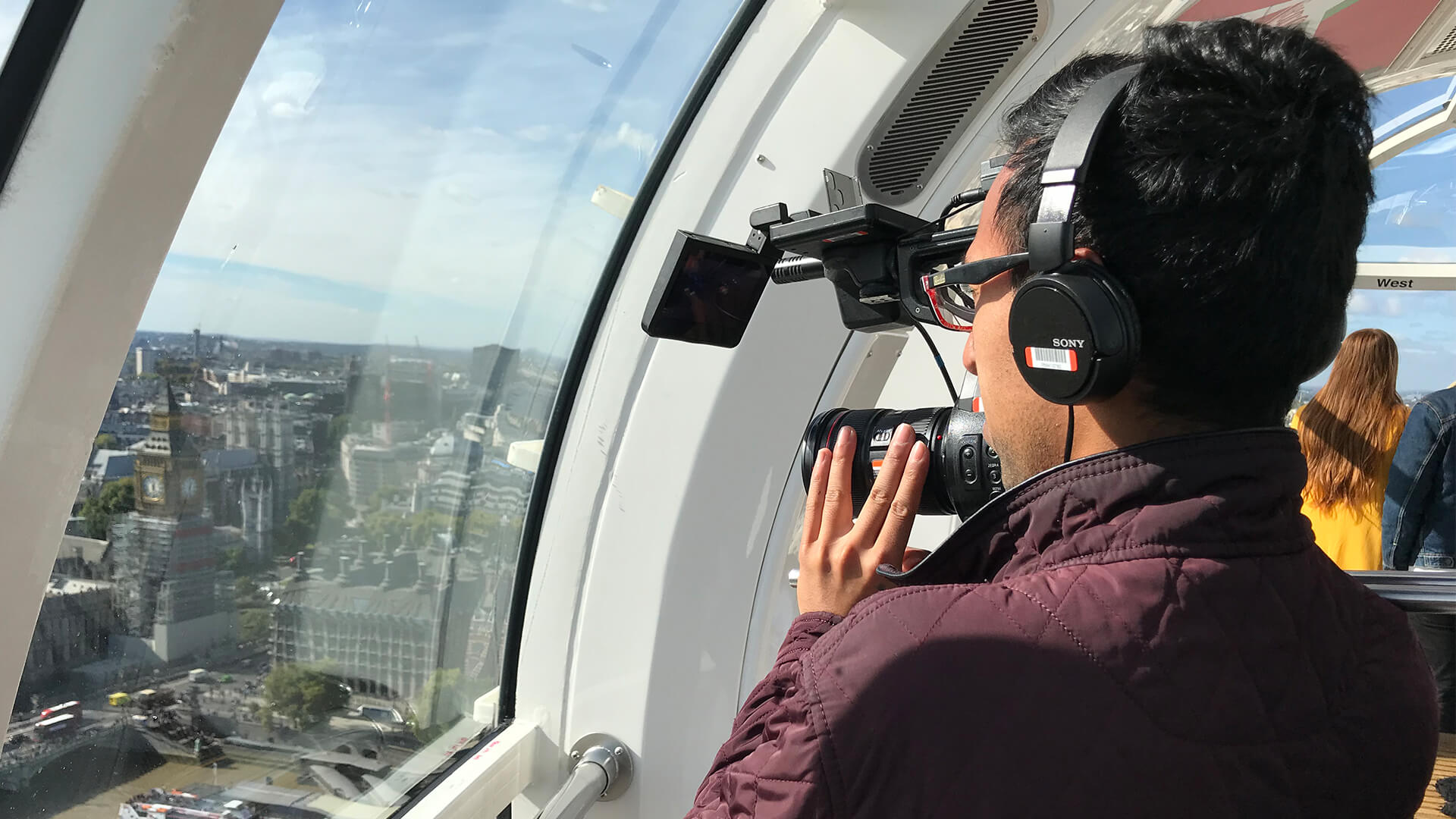 London eye pod filming with camera looking at stage entertainment